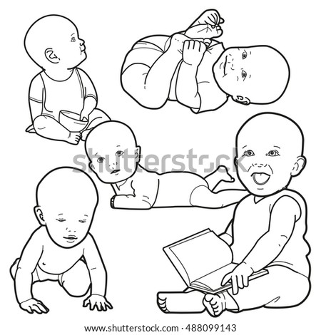 set with babies in white diapers, crawling baby, and happy baby. Vector cartoon character isolated on white background.
