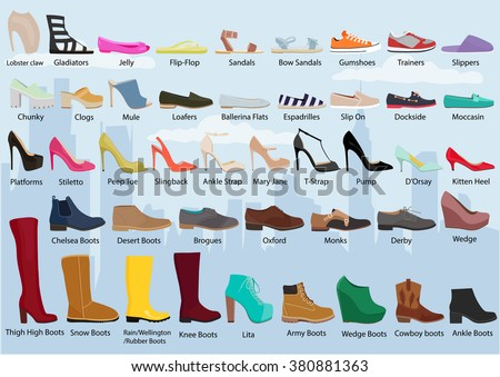 Set Different Types Womens Shoes Womans Stock Vector