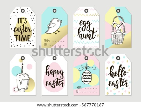 Set happy easter gift cards calligraphy stock vector 569339866 set with happy easter gift tags and cards with calligraphy handwritten lettering hand drawn negle Images
