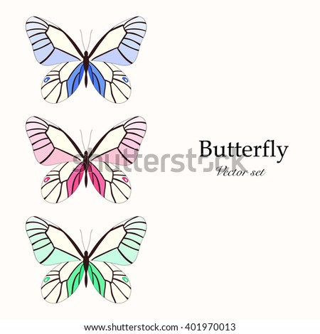 Set with three butterflies