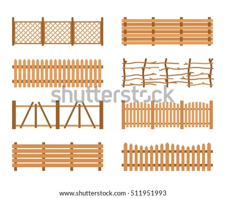 set wooden fences isolated on white background different garden fences vector rural fencing