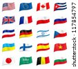 Set World flags icons. Illustration on white - stock photo