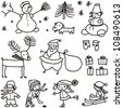 set xmas doodle black on white background - stock vector