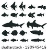 Sets of silhouette Fishes 1, create by vector - stock vector