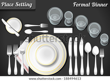 Setting place formal placemat dinner place stock vector 194612924 place setting informal place mat formal placement plate napkins ccuart Choice Image