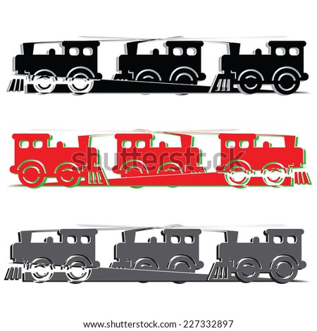 several steam colorful locomotives on white background.