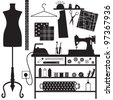 Sewing and tailoring related symbols - stock vector