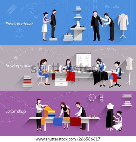 Sewing horizontal banners set with fashion atelier tailor shop elements isolated vector illustration