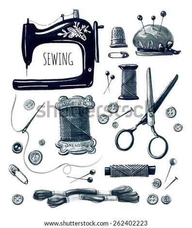 Set Vintage Sewing Labels Badges Design Stock Vector ...