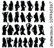 sexy girl black silhouette set vector on white - stock vector