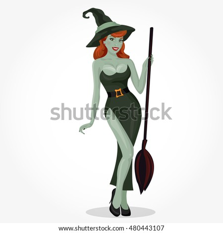 sexy witch with green skin