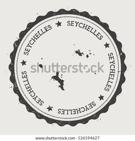 Seychelles vector sticker. Hipster round rubber stamp with island map. Vintage passport stamp with circular Seychelles text and stars, vector illustration.