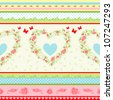 Shabby Chic floral pattern. Country style roses and stripes background. - stock vector