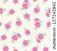 Shabby chic rose pattern with Polka dot. Floral seamless background for your design and scrap booking . - stock vector
