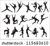 shape (silhouette dancers) - stock vector