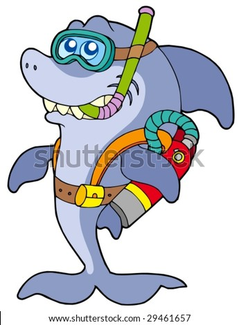 Shark scuba diver - vector illustration.