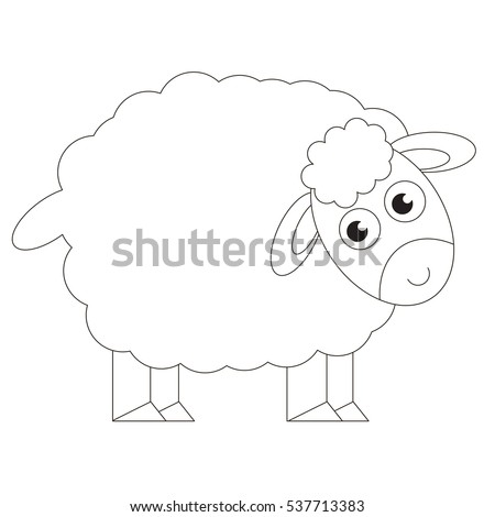 Sheep cartoon. Outlined object with black stroke.