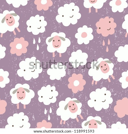 sheep funny seamless pattern