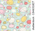 Sheep on clouds - cute cartoon childish seamless pattern in vector. Seamless pattern can be used for wallpaper, pattern fills, web page backgrounds, surface textures. - stock vector