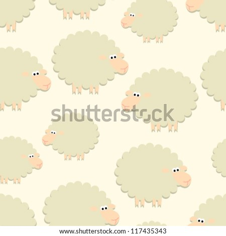 sheep on light yellow seamless pattern