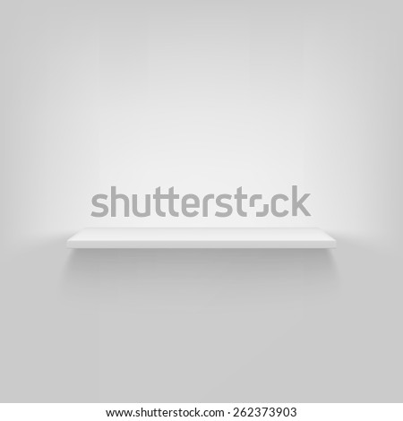Shelf attached to the wall. Vector, white background, eps10