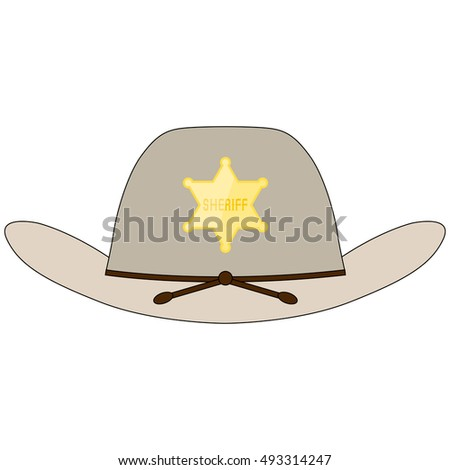 Sheriff grey hat with golden shiny star and leather stripes