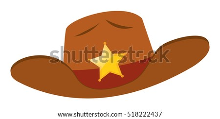 Sheriff hat with star badge illustration