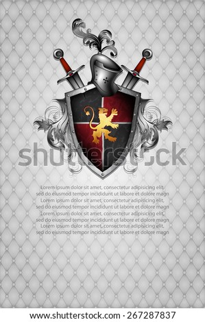 shield, helmet and two swords on a gray background ornamented
