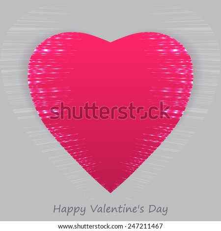 Shining red heart. Happy Valentine's Day. Vector