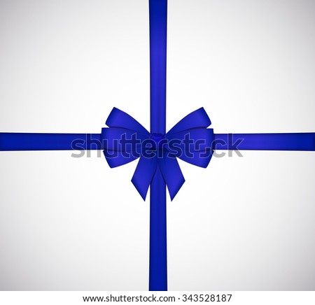 Shiny blue satin ribbon bow isolated on white background.
