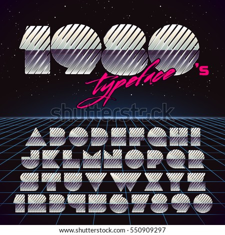Shiny Chrome Retro Futuristic Font. Stylish Retro Synth Wave Alphabet in 80s style. Vector font on laser grid background