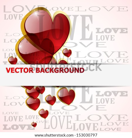 shiny glossy heart on white - vector illustration