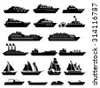 Ship Boat Icons Set - stock photo