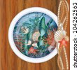 Ship porthole window with underwater scene, vector illustration - stock photo