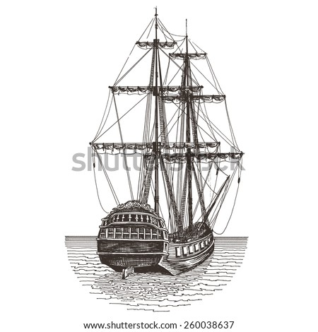 pirate ship sails template - model old sailing merchant ships cannons stock photo
