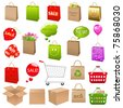 Shipping Box And Shopping Bags, Vector Illustration - stock photo