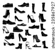 Shoes icon black and white - stock photo