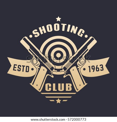 shooting club logo emblem two pistols stock vector