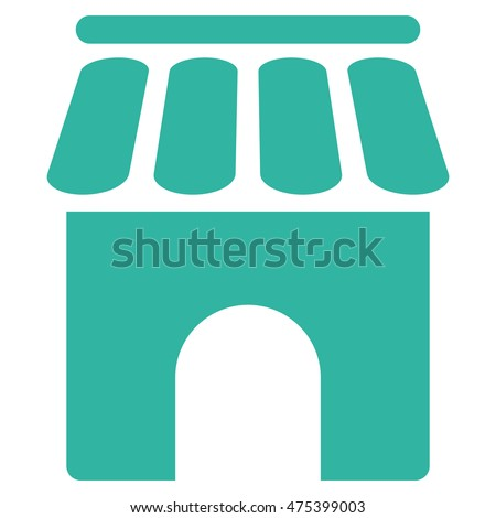Shop Building icon. Vector style is flat iconic symbol, cyan color, white background.