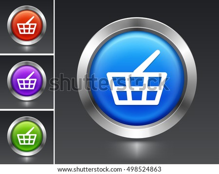 Shopping Basket on Blue Round Button