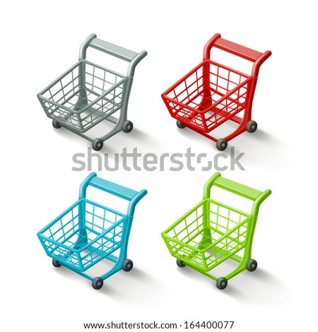 Shopping cart icon set, isolated