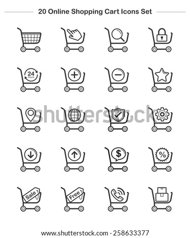 Shopping Cart Icons Set, Line icon, Vector illustration