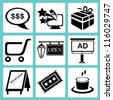 shopping icon set, marketing icon set, e commerce icon set - stock vector
