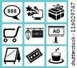 shopping icon set, marketing icon set, e commerce icon set - stock photo
