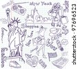 Shopping in New York doodles - stock vector
