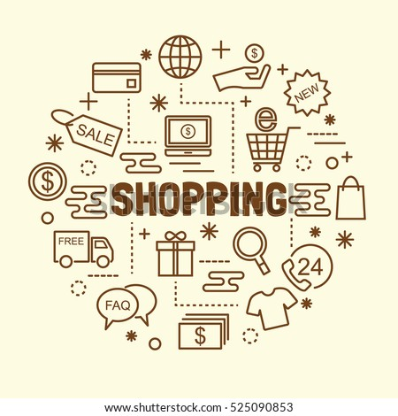 shopping minimal thin line icons set, vector illustration design elements