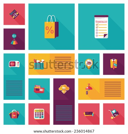 shopping ui flat design background set, eps10