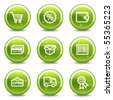 Shopping web icons set 2, green glossy circle buttons series - stock vector