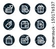 Shopping web icons set 1, grunge circle buttons - stock vector