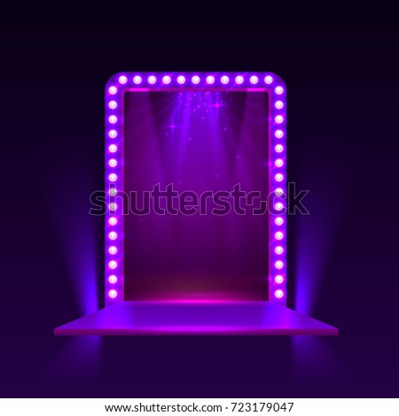 Mirror Bulbs Frame Makeup Table Dressing Stock Vector